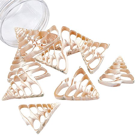 NBEADS 10 Pcs Natural Shell Beads, Shell Drilled Beads Seashell Charms for DIY Necklace Bracelet Earring Making