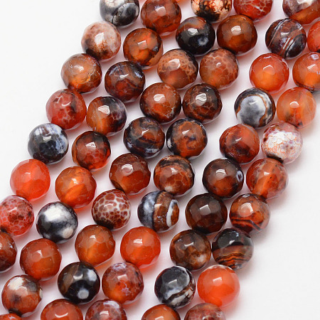 Nbeads Natural Fire Agate Bead Strands, Round, Grade A, Faceted, Dyed & Heated, Chocolate, 8mm, Hole: 1mm; about 47pcs/strand, 15