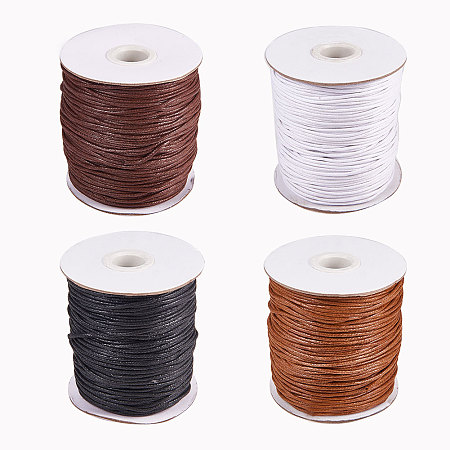 PandaHall Elite 4 Rolls 1.5mm Waxed Cotton Cord Thread Beading String 100 Yards per Roll Spool for Jewelry Making and Macrame Supplies 4 Colors