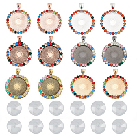 SUNNYCLUE DIY Pendant Making, with Flat Round Alloy Rhinestone Pendant Cabochon Settings and Transparent Glass Cabochons, Colorful, Tray: 25mm; 43x34x3mm, Hole: 4x7mm, 12pcs/set