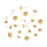 Unicraftale 304 Stainless Steel Stud Earring Settings, with Ear Nuts/Earring Backs, Bead Container, Flat Round, Golden, 7.4x7.2x1.7cm, 120pcs/box