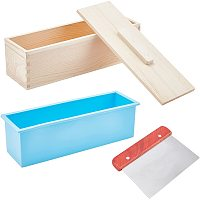 Pandahall Elite Silicone Soap Loaf Mold, 40oz Rectangular Flexible Soap Molds Wood Box Covers with Straight Planer Blade Soap Cutter for Soap Making, Candle, Chocolates, Pudding