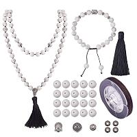 SUNNYCLUE 1 Set 108 Howlite Gemstone Mala Beads/Buddha Beaded Necklace Jewelry Making Kit - DIY Make 1 Hand Knotted Prayer Tassel Pendant Necklace and 1 Adjustable Mala Wrap Beaded Bracelet
