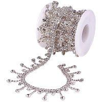 BENECREAT 2 Yards Tassel Glass Crystal Rhinestone Chains Bling Diamante Diamond Trim Ribbon for Wedding Dress Decoration (Rhinestone: 4x3.5mm)