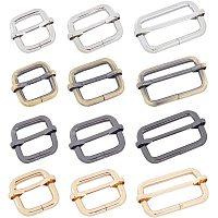 NBEADS 24 Pcs Iron Adjuster Slides Buckles, 3 Sizes 4 Colors Roller Pin Buckles Slider Strap Adjuster for Belt Bags DIY Accessories