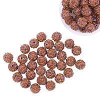 ARRICRAFT 100 Pcs 10mm Coffee Shamballa Pave Disco Ball Clay Beads, Polymer Clay Rhinestone Beads Round Charms Jewelry Makings