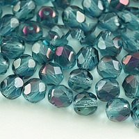 Nbeads Czech Fire Polished Glass Beads, Faceted, Drum, LightSeaGreen, 6x6mm, Hole: 1mm; about 37pcs/10g