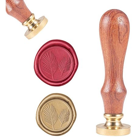 CRASPIRE Wax Seal Stamp, Vintage Wax Sealing Stamps Palm Leaf Retro Wood Stamp Removable Brass Head 25mm for Wedding Envelopes Invitations Embellishment Bottle Decoration Gift Packing