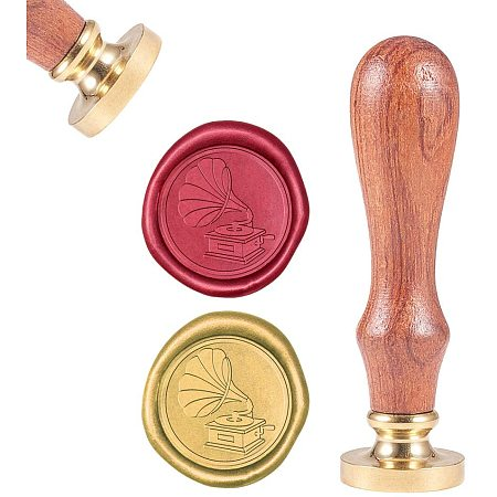 CRASPIRE Wax Seal Stamp, Sealing Wax Stamps Phonograph Retro Turntable Gramophone Pattern Wood Stamp Wax Seal Removable Brass Seal for Envelopes Invitations Wedding Embellishment Bottle Decoration