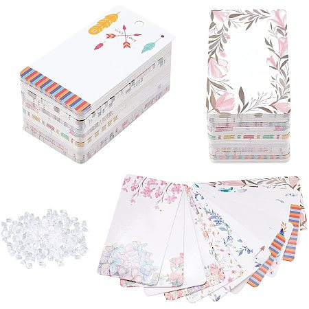 Pandahall Elite 120 pcs 12 Colors 1.9 x 3.5 Inch Earring Display Cards Feather/Umbrella/Flower Rectangle Pre-Punched Display Cards with 200 pcs Plastic Ear Nuts for Jewelry