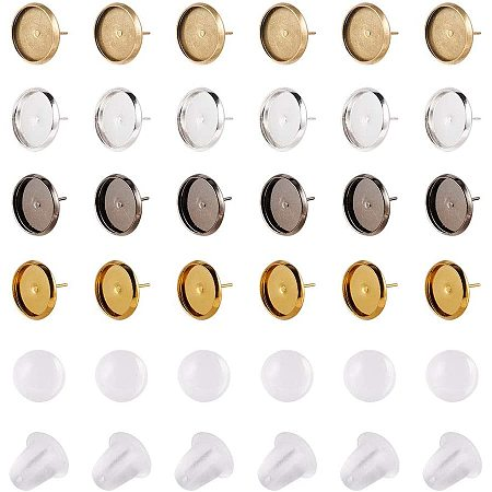 NBEADS Earring Making Kit, Including 80 Pcs 12mm Brass Stud Earring Pendant Trays in 4 Colors with Matching Clear Glass Cabochons and 100 Pcs Plastic Earring Ear Nuts for Photo Craft Earring Making
