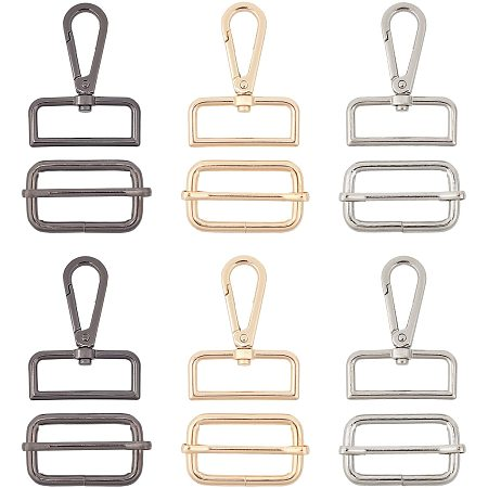 NBEADS 6 Pcs Swivel Clasps and 6 Pcs Slides Buckles, 3 Colors Lobster Claw Clasps, Key Chain Hooks with Buckles for Crafts, DIY, Jewelry Finding Making