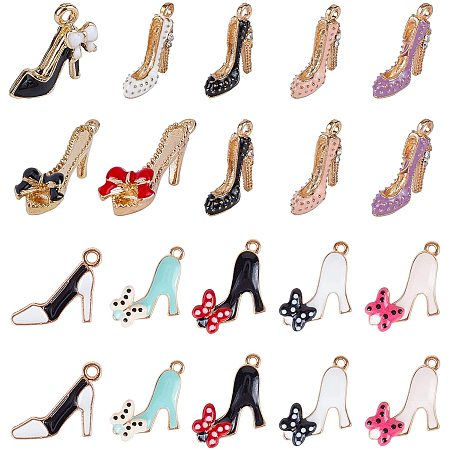 NBEADS 48 Pcs 12 Styles Enamel Shoes Charms, Women Fashion High-Heeled Shoes Pendant Golden Shoes Pendant for Jewelry Making