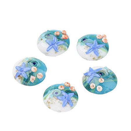 ARRICRAFT 1 Box(12pcs) Ocean Style Flat Round Handmade Lampwork Glass Beads Starfish CornflowerBlue, 20x10mm, Hole: 1mm