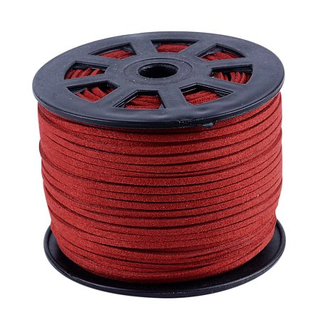 Nbeads 100 Yards Roll 3mm Wide Jewelry Making Beading Craft Thread Flat Micro Fiber Faux Suede Leather Cord String (Red)