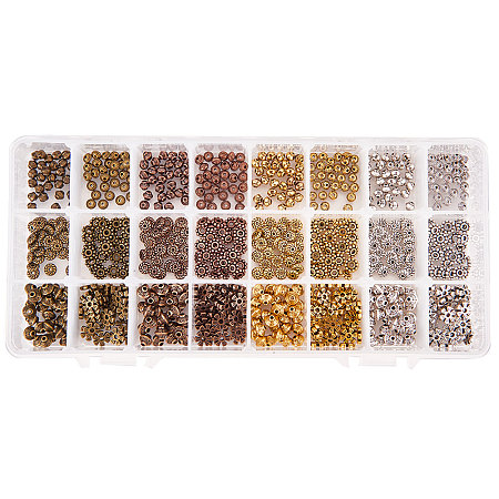 PandaHall Elite 720pcs 6 Styles 4 Colors Tibetan Style Alloy Spacer Beads Jewelry Findings Accessories for Bracelet Necklace Jewelry Making