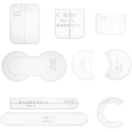NBEADS 10 Pcs Acrylic Handcraft Waist Bag Templates, 2 Sizes of Clear Leather Craft Pattern Models Waist Bag Acrylic Cutting Templates for Beginner DIY Handmade Simple Clutch Purse