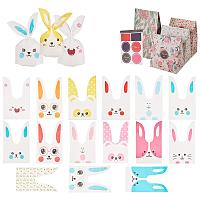 """PandaHall Elite 75 pcs 15 Styles 5""""x4"""" Animals Theme Plastic Candy Bags, Rabbit/Bear/Cat/Fox Ear Bags Treat Bags with 8pcs 5""""x9"""" Flowers Floral Paper Bags for Wedding Birthday Party"""