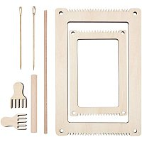 NBEADS 2 Sets DIY Wooden Knitting Loom Kits, with Wooden Frame & Needle & Fork & Stick, Handmade Knitting Machine for Beginners Kids Weaving Set