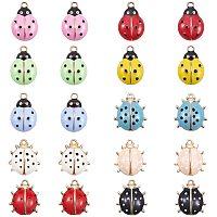 PH PandaHall 20pcs 2 Sizes Ladybug Enamel Charms Ladybird Pendants Flying Insect Animal Charms for DIY Necklace Bracelet Earrings