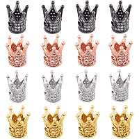 NBEADS 16 Pcs 10mm Crown Beads 4 Colors Brass Micro Pave Cubic Zirconia King Beads Crown Spacer Beads Bracelet Connector Charm Beads for DIY Jewelry Making