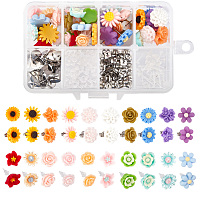 SUNNYCLUE DIY Stud Earring Making Kits, with Resin Flower Cabochons, Stud Earring Findings and Ear Nuts, Mixed Color