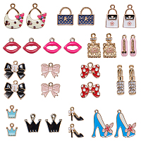 SUNNYCLUE Alloy Pendants, with Enamel and Rhinestone, Mixed Shapes, Mixed Color, 74x72x17mm; 30pcs/box
