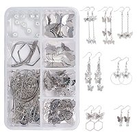 SUNNYCLUE DIY Butterfly Themed Earring Making Kits, include Brass Filigree Pendants & Earring Hooks, 304 Stainless Steel Pendants, Alloy Bar Links, Glass Pearl, Iron Jump Rings & Pin, Mixed Color