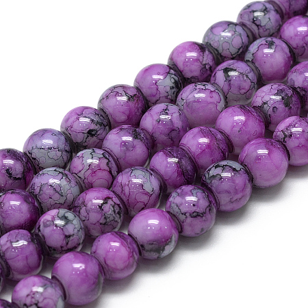Baking Painted Glass Beads Strands, Round, Violet, 10mm, Hole: 1.5mm; about 85pcs/strand, 31.4 inches(79.7cm)