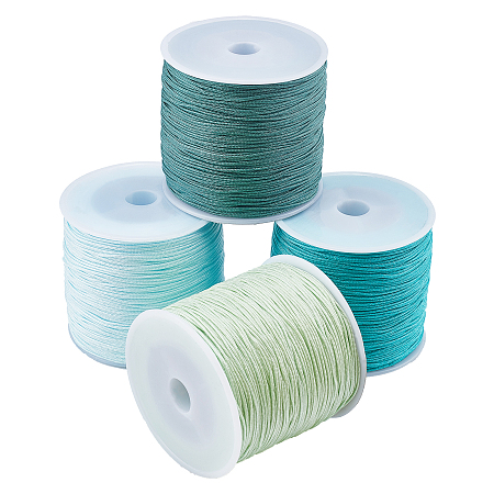 Nylon Thread Nylon String, for Beading Jewelry Making, Mixed Color, 0.8mm; about 100m/roll, 4 colors, 1roll/color, 4rolls