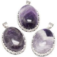 NBEADS Stone Pendants, 10 Pcs 21x30mm Oval Purple Natural Amethyst Pendant Charms with Brass Findings for Jewellery Necklace Bracelet Gift Making