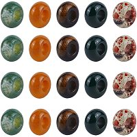 NBEADS 20 Pcs Mixed Natural Gemstone European Beads, 5 Colors 6mm Large Hole Beads Bracelet Spacer Beads Charms for Jewelry Makings