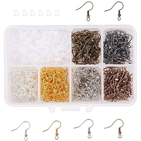 Arricraft 300 pcs 6 Colors Brass Earring Hooks Ear Wires French Fish Hooks with White Plastic Ear Nuts Earring Backs for DIY Earring Jewelry Making
