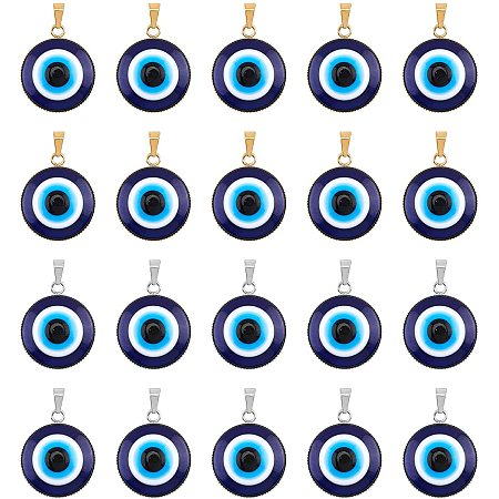 NBEADS 20 Pcs Blue Evil Eye Pendants, 2 Colors Flat Round Lampwork Evil Eye Beads with 304 Stainless Steel Serrated Edge Bezel Cups for Jewelry Accessories Home Craft Decoration