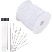 PH PandaHall 280 Yards 1mm Lift Shade Cord Blinds String Lift Cord Replacement with 3 Sizes Sewing Needles for Aluminum Blind Shade, Gardening Plant, Curtain Crafts