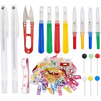 NBEADS Hand Sewing Tools Sets, with Stainless Steel Scissors, Plastic Water Soluble Pen & Soft Tape Measure & Hangers Clips & Seam Ripper & Steel Head Pins for Sewing Embroidery Accessories