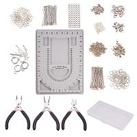 PandaHall Elite Jewelry Making Supplies Kit with Bead Design Board, Pliers, Crystal Thread, Pins, Crimp Beads, Jewelry Findings for Jewelry Repair and Beading (17 Jewelry Findings)