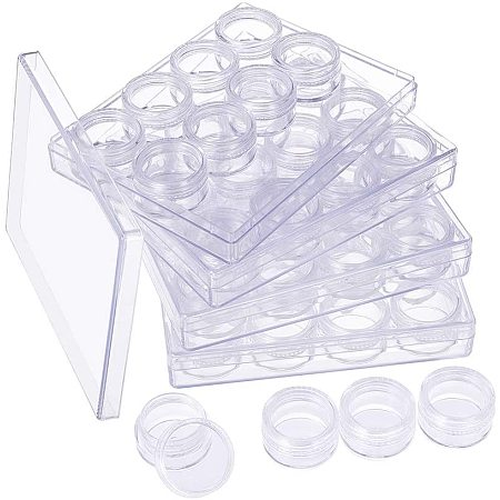 BENECREAT 48 Pieces Clear Plastic Bead Jars Containers with 4 Large Storage Boxes Set for Diamond, Nail Crystals and Other Small Items