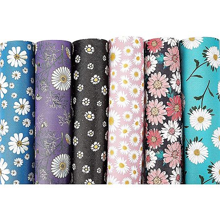 BENECREAT 12 Packs Daisy Flower Leather Sheets Floral Printed Synthetic Faux Leather Sheet for Earrings Making Craft and Hair Accessories Making(7.8 x 11.8 inch)