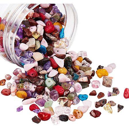 NBEADS 1 Box 2 Strands Gemstone Chips Beads, Natural Nugget Loose Beads Chips Beads Strands for Jewelry Making