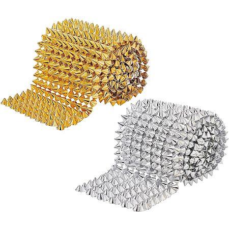 FINGERINSPIRE Plastic Rivets, Cone, Platinum & Golden, 8x6.5mm; 2 colors, 1yard/color, 2yards/set