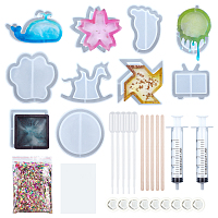 Olycraft  Silicone Quicksand Mold Kits, DIY Resin Silicone Mold, Birch Wooden Craft Ice Cream Sticks, Disposable Latex Finger Cots and Screw Type Hand Push Glue Dispensing Syringe(without needle), Clear, 10pcs/set