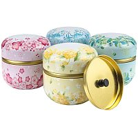BENECREAT 4 Packs Flower Pattern Round Tinplate Tea Storage Containers with Double Lids for Coffee, Chocolate, Herbs, Candy, Spices