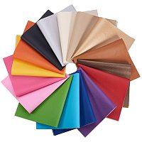 BENECREAT 16 Packs Mixed Color Faux Leather Sheet Litchi Pattern Waterproof Synthetic Leather for Dressing Sewing Crafting DIY Projects