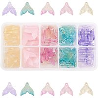 PandaHall Elite 100Pcs Transparent Spray Painted Glass Crystal Pendants Mermaid Fishtail for Jewelry Making DIY Crafts Accessories, 19x19.5mm