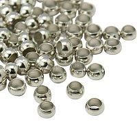 NBEADS 10000pcs Brass Crimp Beads, Platinum, 3mm, Hole: 2mm