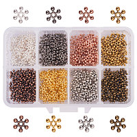 PandaHall Elite 400PCS 8 Colors Tibetan Alloy Snowflake Spacer Beads Jewelry Findings Accessories Bracelet Necklace Jewelry Making Size 8.5x2.5mm