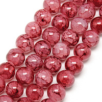 Baking Painted Crackle Glass Beads Strands, Round, FireBrick, 8mm, Hole: 1.3~1.6mm; about 100pcs/strand, 31.4 inches