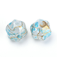 Nbeads Plating Acrylic Beads, Metal Enlaced, SkyBlue, 14x14x13.5mm, Hole: 2mm