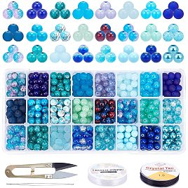 PandaHall Elite 24 Color 8mm Round Glass Beads Blue Sea Glass Loose Beads Assortment Lot with Scissors, Elastic Thread and Beading Needles for Bracelets, Necklaces, Crafts DIY Jewelry Making